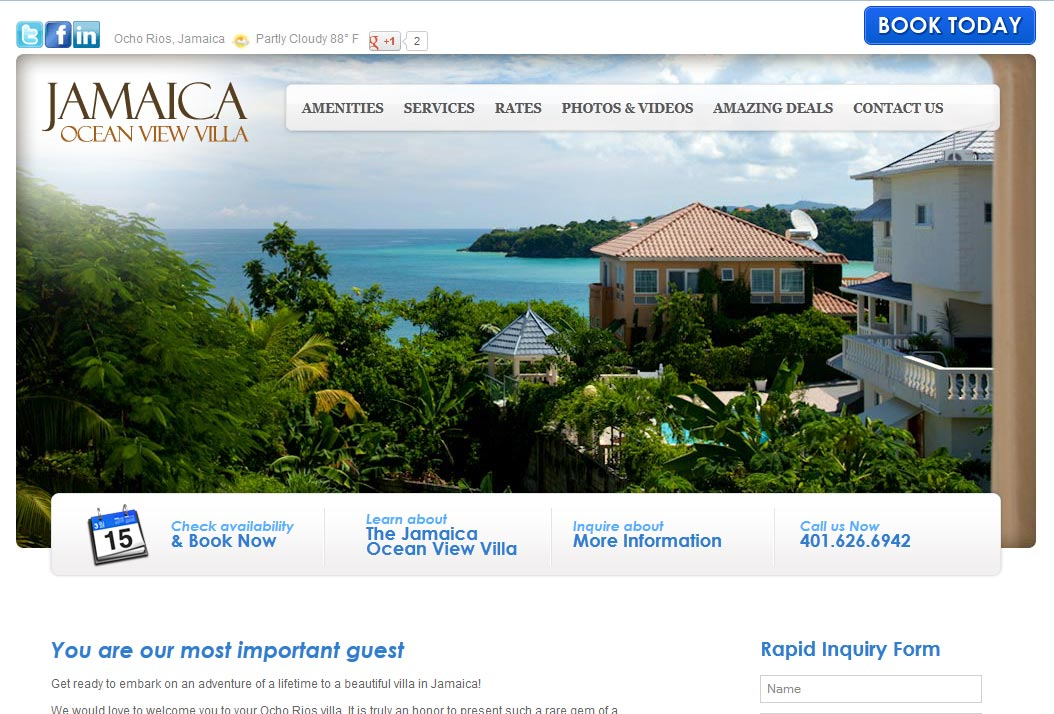 Jamacian Ocean View Villa | Website Design