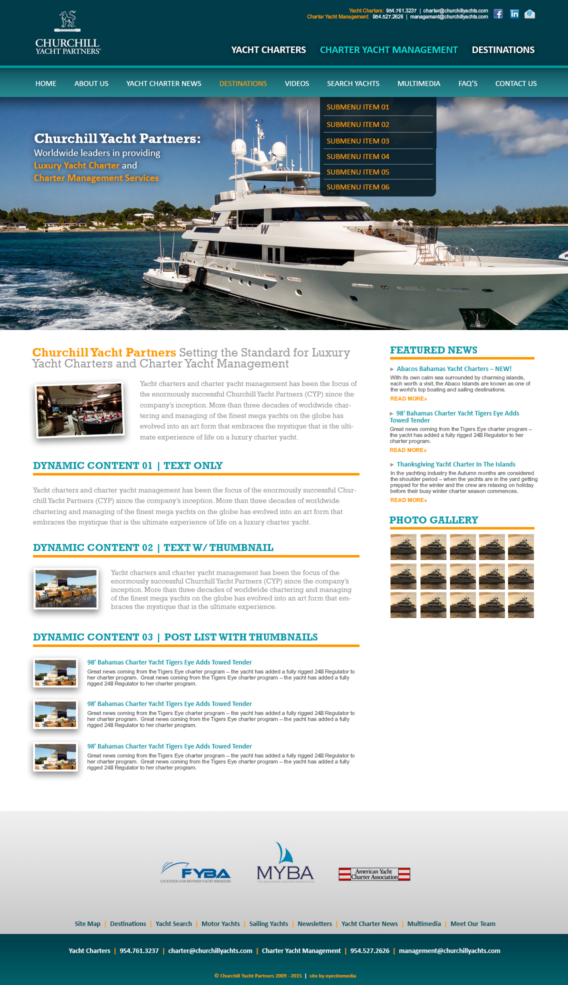 Churchill Yacht Partners | PSD Website Interface Design